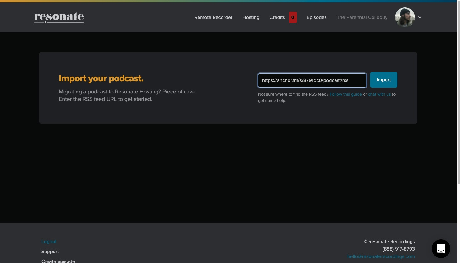 Import your podcast RSS feed to Resonate